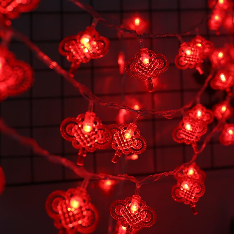 20/40/50/80/100LED Chinese Knot Lantern String Red Lantern String Spring Festival Lantern Festival Outdoor Decoration Festive