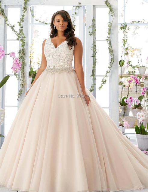 vestidos de noiva Cap Sleeve Champagne Wedding Dress Plus Size ...