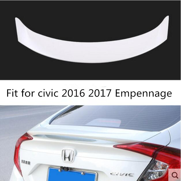 ABS Plastic Rear Trunk Wing Spoiler Decoration Fit For Honda Civic 2016 2017 Empennage hot car abs chrome carbon fiber rear door wing tail spoiler frame plate trim for honda civic 10th sedan 2016 2017 2018 1pcs