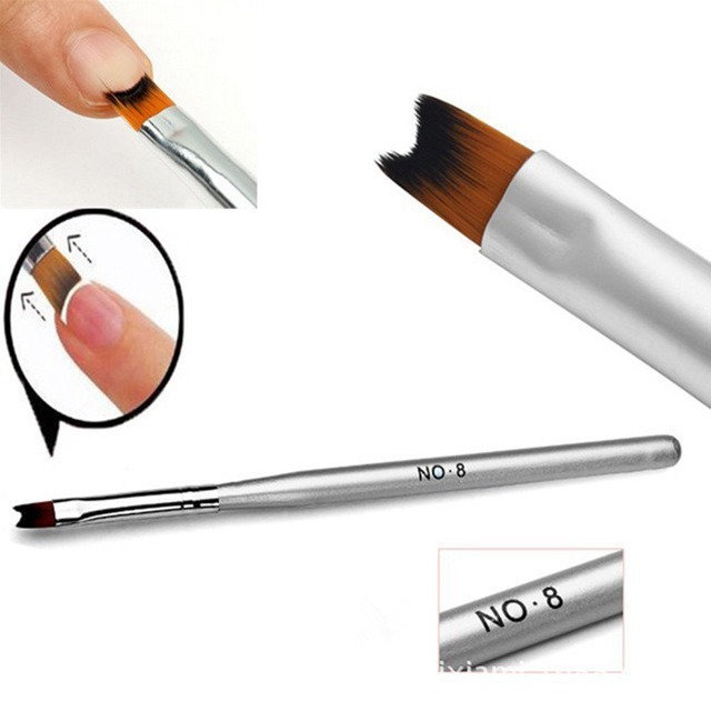 Hot Ing 1 Pc French Manicure Nail Brush Half Moon Drawing Pen Silver Acrylic Art
