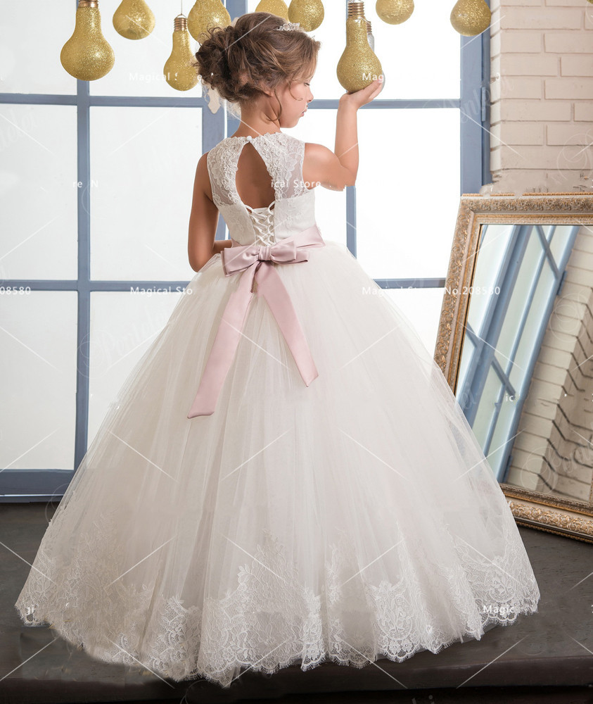 260594d329d White Ivory Girls First Communion Dresses Ball Gown Lace with Sash Long  Junior Flower Girl Dress for Wedding Custom Any Size -in Dresses from  Mother   Kids ...