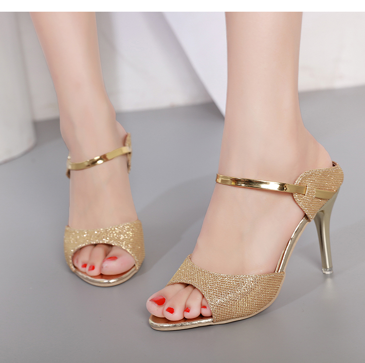 LAKESHI Summer Women Pumps Small Heels Wedding Shoes Gold Silver Stiletto High Heels Peep Toe Women Heel Sandals Ladies Shoes 12