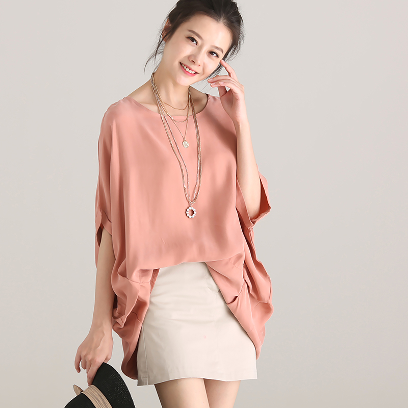 C7211 big code, round neck pure color copper ammonia bat short sleeve shirt female 2018 summer-in Blouses & Shirts from Women's Clothing    1