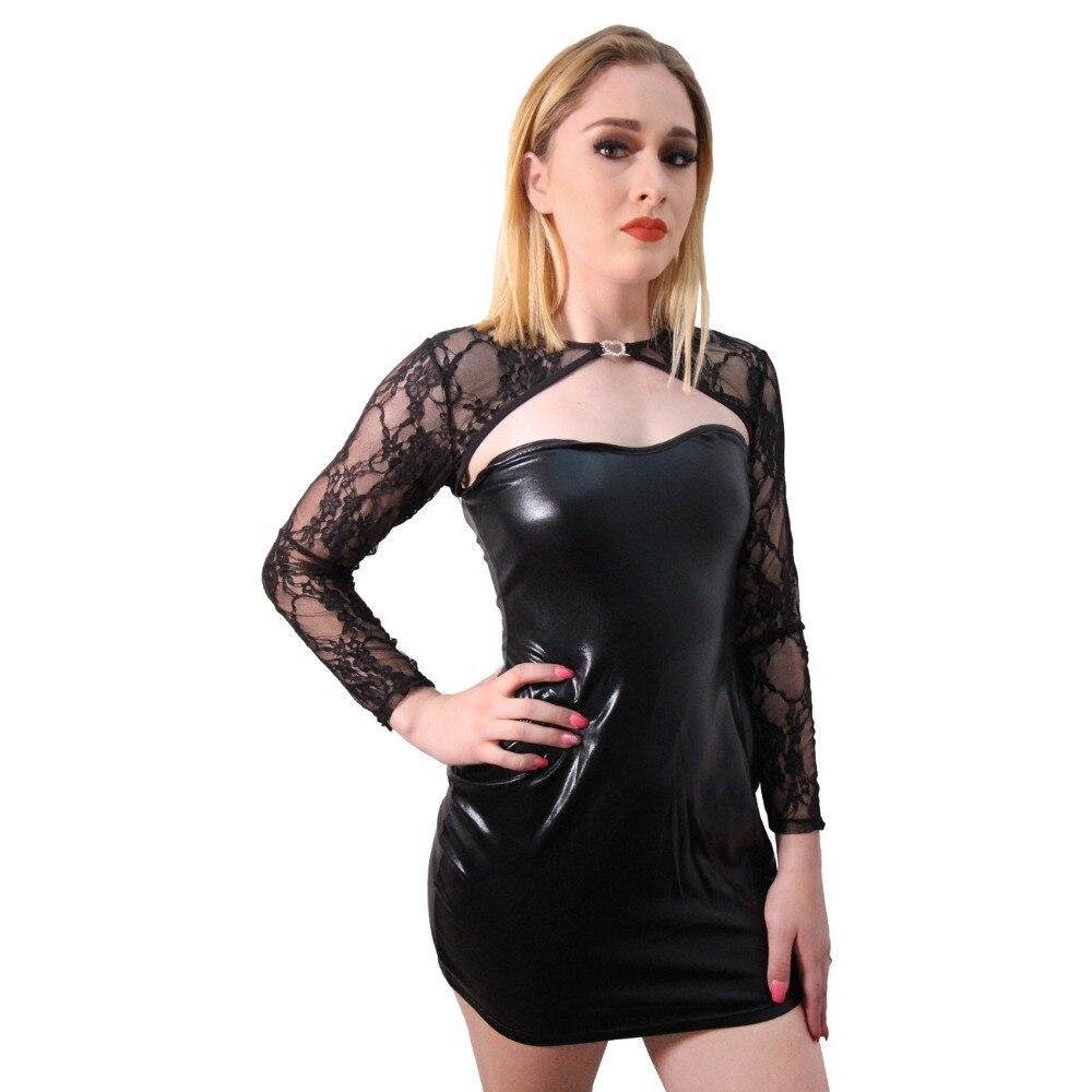 Sexy Lace Long Sleeve Bodycon Short Dress Black Low Cut Wet Look Faux Leather Bandage Vestidos Women Night Club Party Clubwear