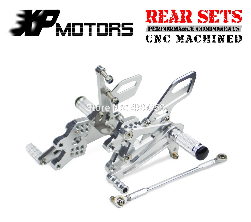 Silver CNC Billet Race Rear Adjustable Foot Peg Sets Rearset For Kawasaki Ninja ZX-10R ZX1000 2004-2005Silver CNC Billet Race Rear Adjustable Foot Peg Sets Rearset For Kawasaki Ninja ZX-10R ZX1000 2004-2005