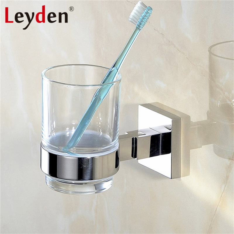 Leyden Stainless Steel Toothbrush Holder Chrome Cup Toothbrush Tumbler Holder Wall Mounted Cup Hanger Rack Bathroom Accessories image
