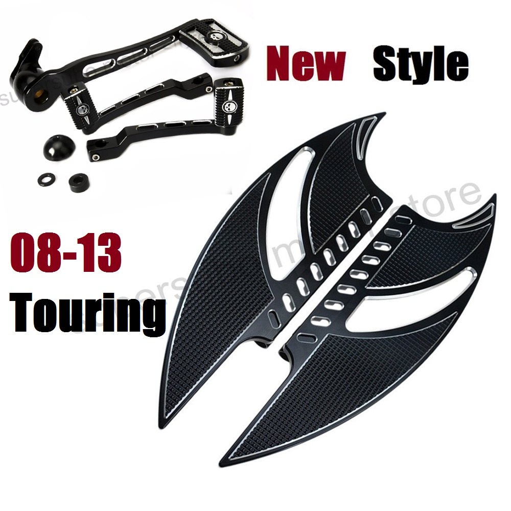 Noir Tomahawk marchepied Pour harley road king plancher harley bras de frein kits shifter Levier Pour Harley Touring 08-13