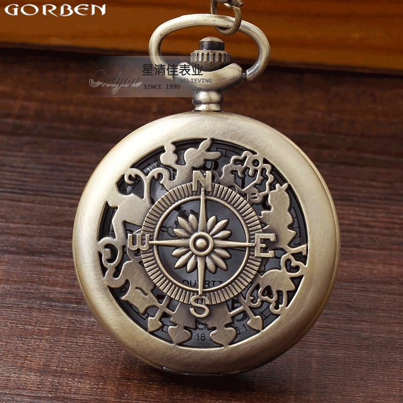Vintage Alice In Wonderland Rabbit Compass Pocket Watch With Chain Brass Hollow Bronze Cute Stationary Pendant Clock Women Men