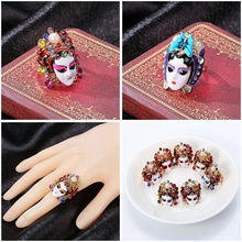 Chinese Style Peking Opera Mask Ring Ethnic Women Finger Trinket Jewelry Accessories