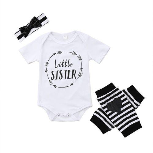 Ambitieus Pasgeboren Baby Baby Meisje Kids Kattenbakvulling Zus Romper + Gestreepte Been Warmer + Haarband Outfit Kleding Betrouwbare Prestaties