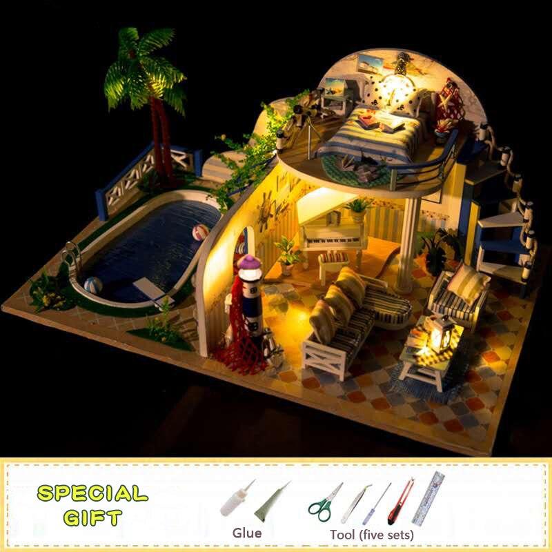 Hongda assemblée poupée maison en bois bricolage à la main jouets créatifs maison Minature meubles lumière poupées maisons décoration artisanat X003