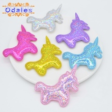 30Pcs Shiny Laser Unicorn Appliques Kid DIY Crafts Ornament PU Leather Patches for Baby Girls Hair Bow Hair Clips Accessories
