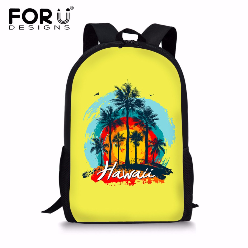 FORUDESIGNS Hawaii Coconut Tree Kids Schoolbag Backpack Polyester Orthopedic School Backpack School Bags For Teenage Boy Satchel