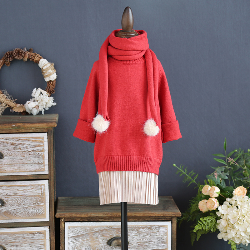 Children's clothing 2017 winter new girls the long section round neck stitching sweater with children joker knit cotton dress sky blue cloud removable hat in the long section of cotton clothing 2017 winter new woman
