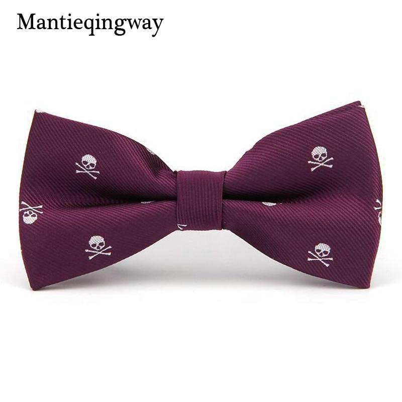 Mantieqingway Novedad Poliéster Seda para hombre Pajarita Calavera para el esmoquin Banquete Nuevo diseño Bowknot Corbatas para el novio de la boda