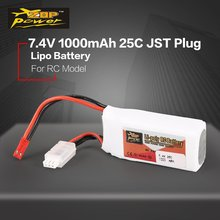 цена на ZOP Power 7.4V 1000mAh 25C 2S 2S1P Lipo Battery JST Plug Rechargeable For RC Racing Drone Helicopter Multicopter Car Model