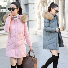 Winter new Korean Edition slim body, big hair collar, long hat, code, ladys down cotton, cotton dress, coat, coat