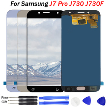 лучшая цена J730 LCD For Samsung Galaxy J7 Pro 2017 J730 J730F LCD Display Touch Screen Digitizer Assembly J730M J730GM J730G LCD Pantalla