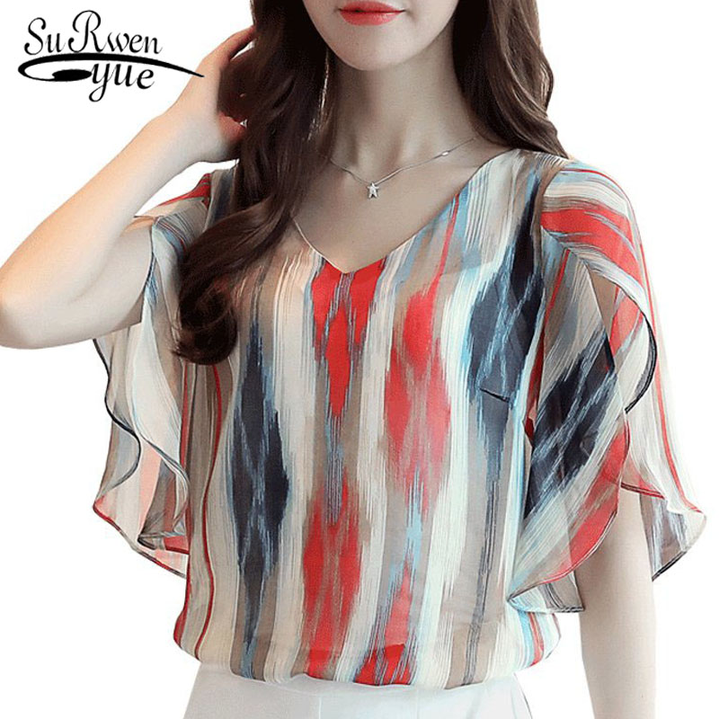 Fashion Chiffon Women Blouse Shirt Summer Flare Sleeve Plus Size 4XL Ladies Tops Print Chiffon Blouse Women Shirt Blusas 0498 30