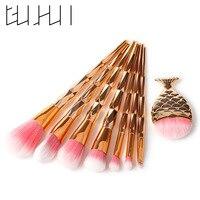 8Pcs Diamond Rose Gold Makeup Brushes Set Mermaid Shaped Foundation Powder Cosmetics Brushes Rainbow Eyeshadow Beauty