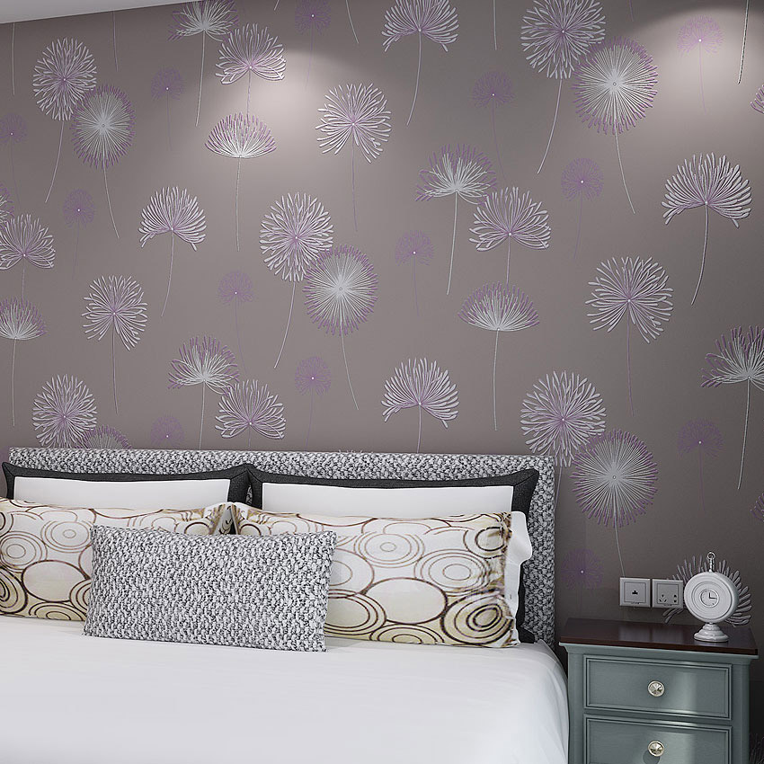 Dandelion Floral 3D Embossed Textured Wallpaper Roll Fashion Non-woven Flower Wall Paper For Living Room Bedroom Wall Home Decor black dandelion wall sticker wallpaper page 3