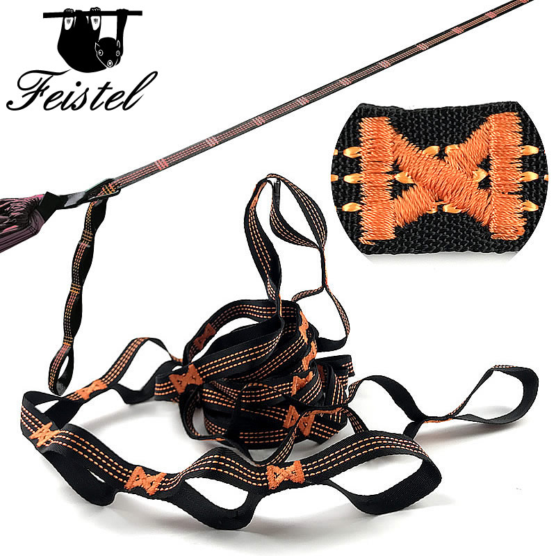 Camping Hammock Tree Straps Set 2 Straps 2 Carabiners & Bag Compact & Easy To Set Up