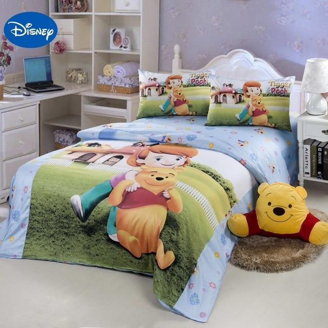 Copripiumino Singolo Winnie The Pooh.Us 95 99 Disney Cartoon Winnie The Pooh Letto Set Per I Bambini Delle Ragazze Arredamento Camera Da Letto Biancheria Da Letto In Cotone Copripiumino
