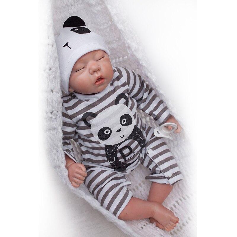 Nicery 20 polegada 50cm bebe boneca renascer macio silicone menino menina brinquedo reborn boneca do bebê presente para crianças preto branco panda menino boneca