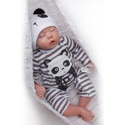 Nicery 20inch 50cm Bebe Doll Reborn Soft Silicone Boy Girl Toy Reborn Baby Doll Gift for Children Black White Panda boy doll