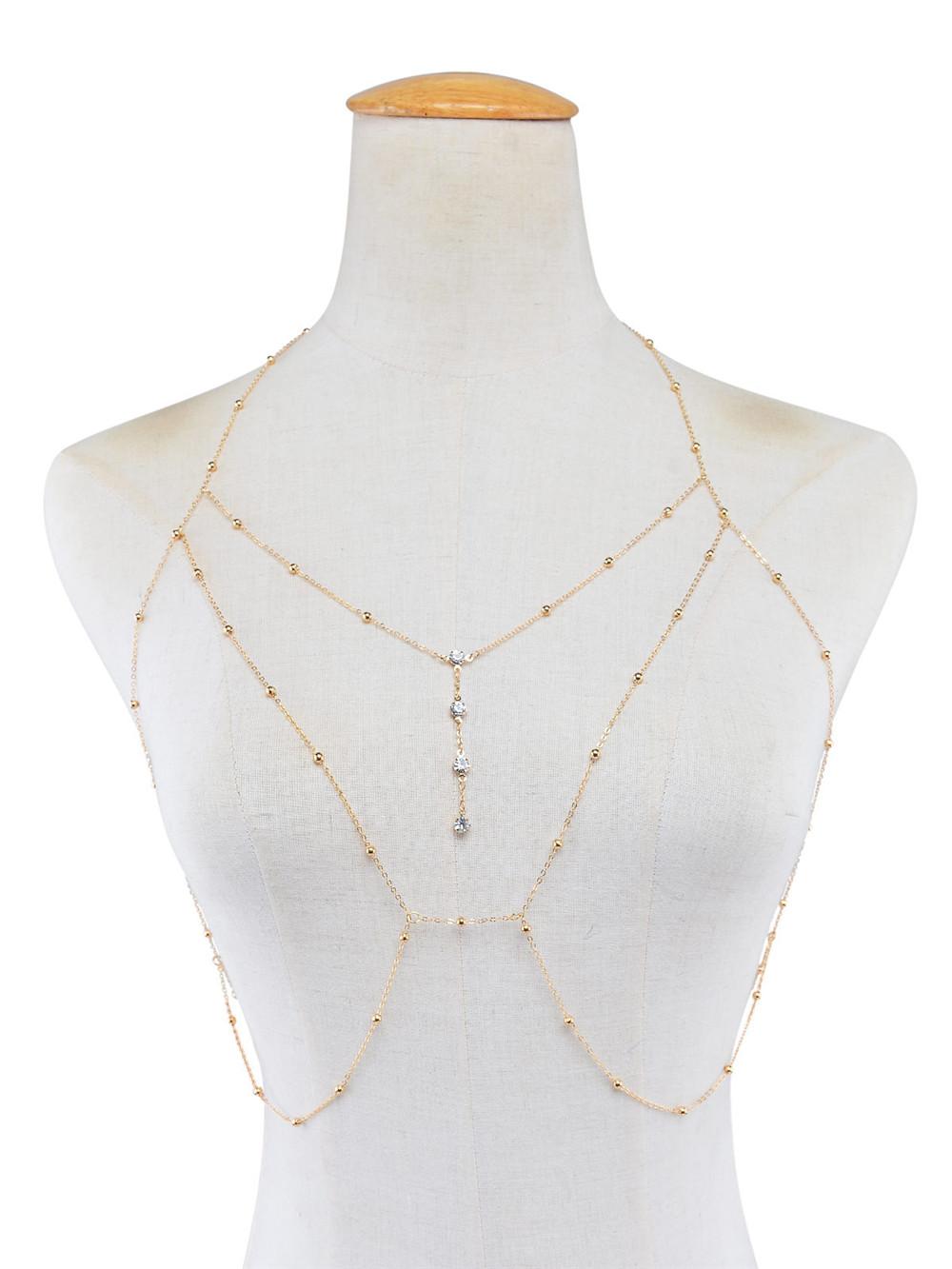 GIVVLLRY Rhinestones Tassel Body Chain Sexy Beach Gold Silver Color Wedding Accessories Bra Cross Body Chain Jewellery for Women 5