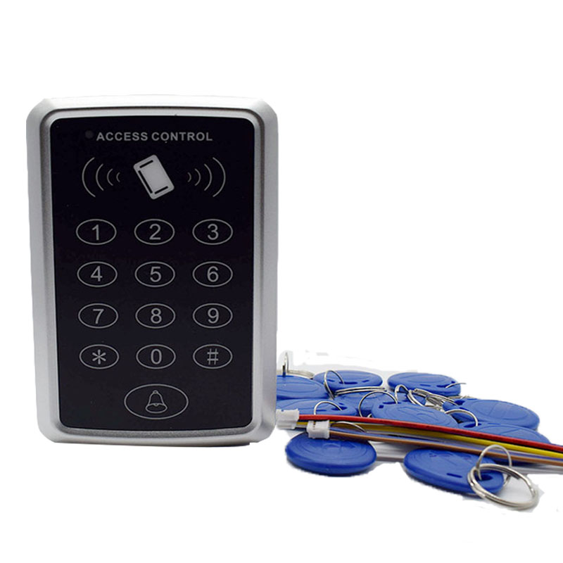 High quality rfid 125khz id tag security card reader access control keypad Free 5 ID keyfob diysecur lcd 125khz rfid keypad password id card reader door access controller 10 free id key tag b100