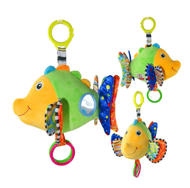 Cute Colorful Fish Design Rattle With Music Box Mirror Stuff Baby Toy For Kid 0-24 months Brand High Quality