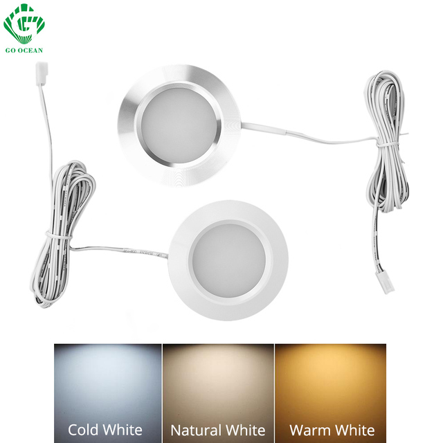 LED Under Cabinet Lights Closet Light 12V 3W Connecting Round Bookshelf Kitchen Surface Mounted Downlights Puck Showcase Lamp
