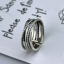 S925 Sterling Silver Ring Female Korean Version of Simple Multilayer Winding Cross Retro Twist Opening Ring(China)