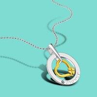 Kadın 925 gümüş kolye moda cazibesi takı kalp kolye kolye uzun boyutu zincir doğum günü hediyesi kız arkadaşı için
