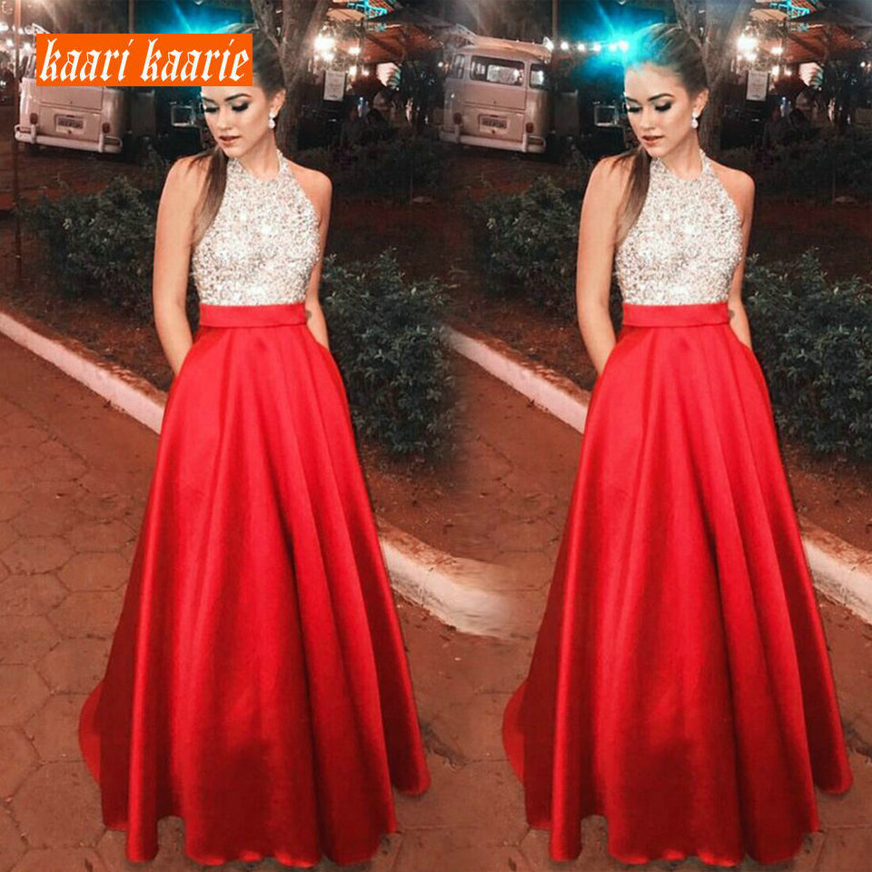 Formal Bling Red   Evening     dresses   Party Long 2019   Evening   Gown Halter Neck Satin Sequined A-Line Slim Fit Cheap Women   Dress   Prom