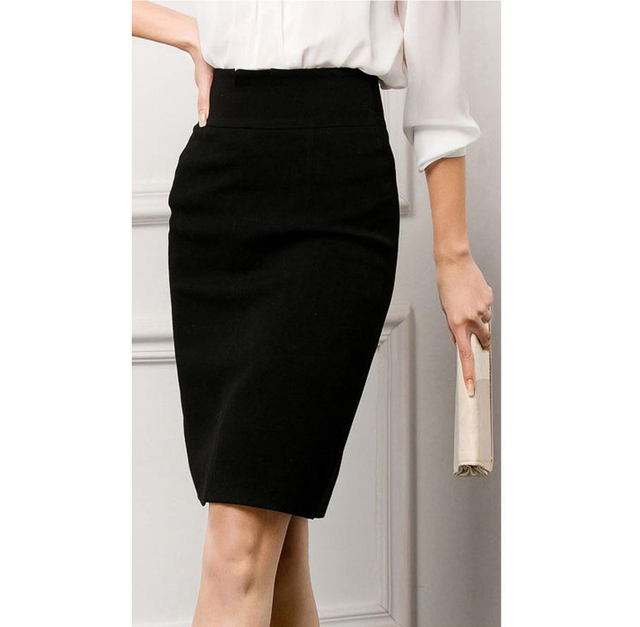 dd8f79fc99bc 2014Women black pencil skirt office wear lady High Waisted work skirts  knee-length zipper at side lining embroidery size m, L,XL