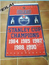 Edmonton Oilers Stanley Cup Champions Flag Polyester NHL Banner Flying Size 90*150cm Custom flag