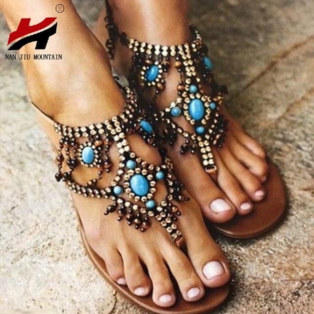 NAN JIU MOUNTAIN Shoes Woman New Beaded National Wind Wave Simian Toe Woman s  Flat Sandals Comfortable Plus Size 34-43 4208ee2455b6