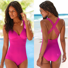 купить 2018 Solid Lace-up Backless One-Piece Swimsuits Sexy Bodysuit Padded Wire Free Swimwear Summer Hot Bandage Bathing Suit дешево