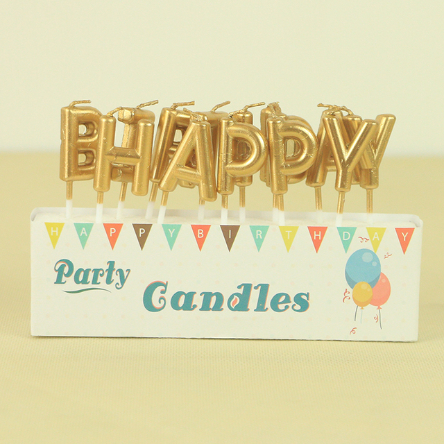 13pcs Lot Metallic Gold Happy Birthday Letter Wax Candle Cake Topper For Kids And Adults Bday Party