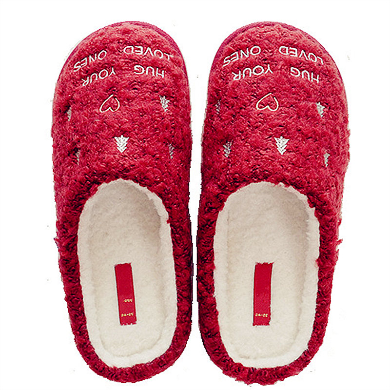 New Christmas Style Cotton Slippers Women Winter Indoor Warm Plush Home Shoes Woman Red Snowflakes Ladies Slipper zapatillas 3d minions slippers woman winter warm slippers despicable minion stewart figure shoes plush toy home slipper one size doll