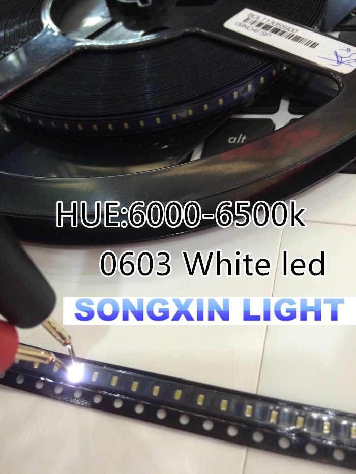 100 unids/lote pequeñas cuentas de lámpara blanca 0603 SMD LED 0603 diodos emisores de luz blanca envío gratis 1,6*0,8*0,4 MM 6000-6500K 3,0-3,6 V