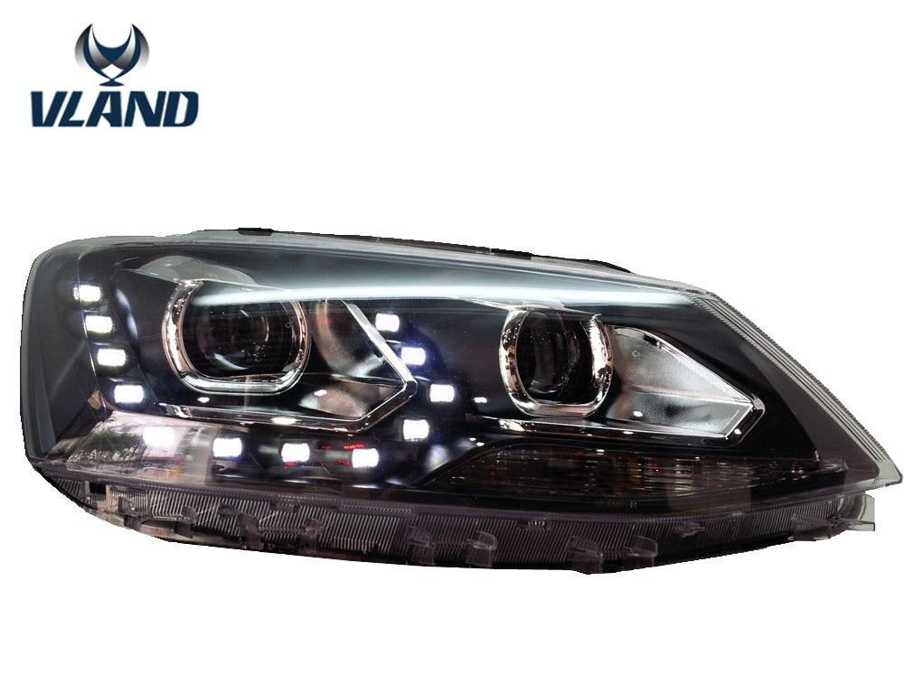 Free shipping for VLAND Car head lamp For VW Sagitar LED headlight 2012-2016 Year BI Xenon lens