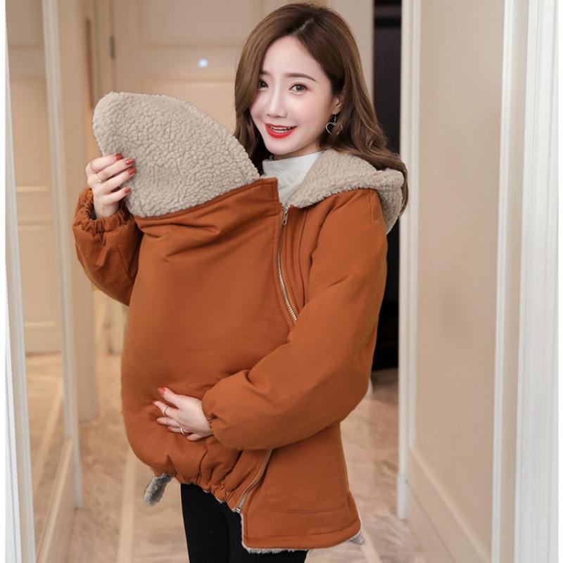 Утепленная зимняя куртка под слинг Модная одежда для детей, Детская мода Carrier кенгуру куртка Одежда для беременных Для женщин берберский фл...