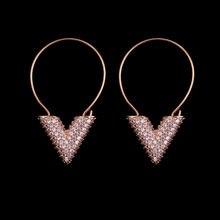 Билицветные модные полные серьги с фианитами розовое золото