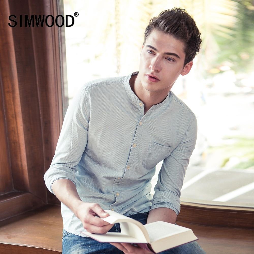 2019 SIMWOOD márka férfi alkalmi ingek tavaszi tavaszi hosszú ujjú ing divat vékony pamut csíkos magas színvonalú CS135