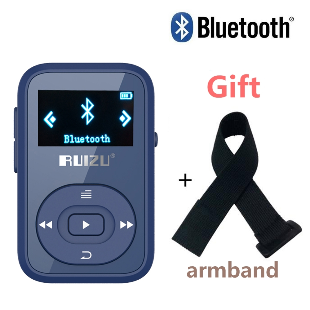 Gratis Armbånd + RUIZU X26 Clip Bluetooth mp3-afspiller 8GB Sport Bluetooth musikafspiller med Screen Voice Recorder FM Support SD-kort