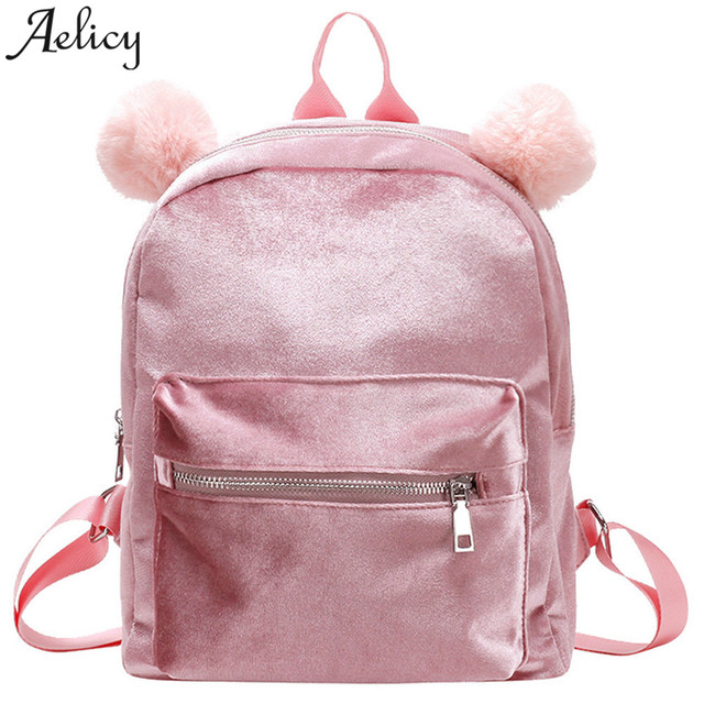 US $11 19 23% OFF|Aelicy Mini Velvet Backpack Bag Female Cute Backpacks  High Quality Back Pack For Girls Gift Women's Small Backpack Korean-in