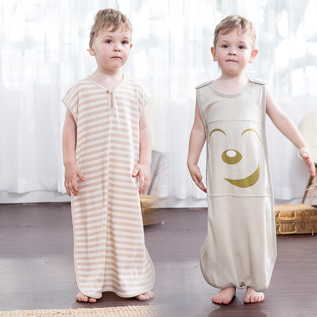 Newborn Sleeping Bag Organic Cotton Sleeveless Kid Sleeping Bag Anti Tipi Smile Sleeping Bags Thin For Newborn Sleeping Bag